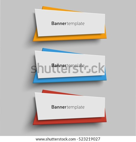 Vector origami paper shape, banner design templates. Set of three banners in original colors. Elements for web design, promotion and advertisement