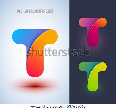 Vector Origami Paper Style Lettr T Logo Design