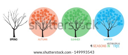 vector original abstract tree in four seasons