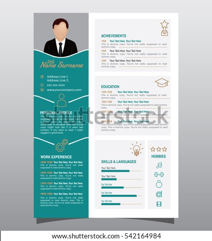 Royalty Free Stock Photos and Images: Vector original minimalist cv ...