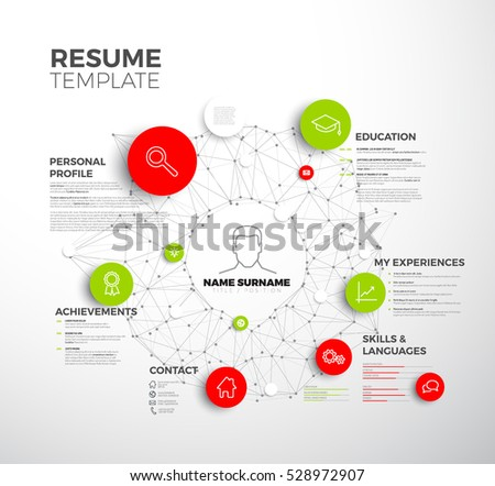 vector original minimalist cv resume template creative profile red and green version - Cv Design Templates Vector