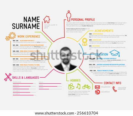 sample cv or resume format example stock vector original minimalist template creative version