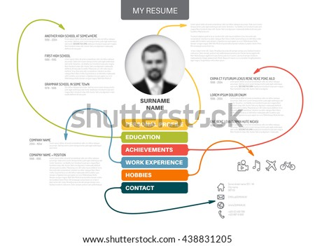 vector original minimalist cv resume template creative version with thin lines connecting work experiences - Cv Design Templates Vector