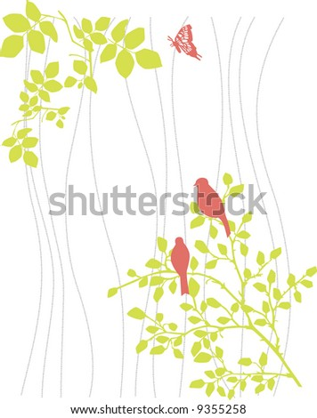 vector original nature decoration with branch and bird
