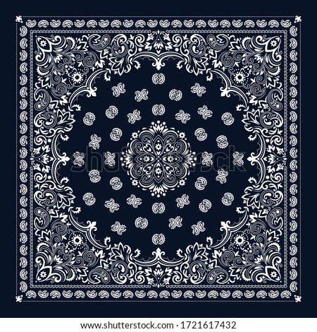 Vector ornament paisley Bandana Print. Silk neck scarf or kerchief square pattern design style, best motive for print on fabric or papper. Foto stock ©