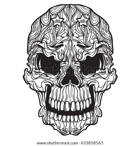 vector ornament skull isolated