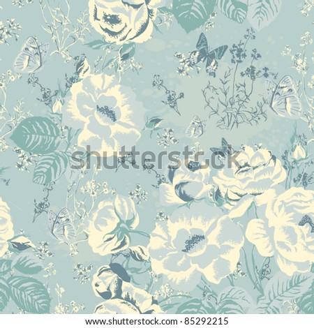 Vector ornament with butterflies and roses in vintage style. Wallpaper, background. Seamless texture with flowers. Endless floral pattern. Background with flowers