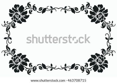 Beautiful Floral Element Black And White Flowers And Leaves Design