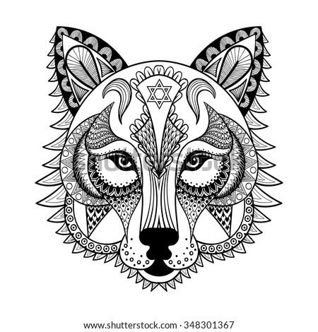 vector ornamental head of wolf
