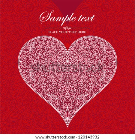 Vector ornamental invitation card with heart. Template handmade lace design for card.