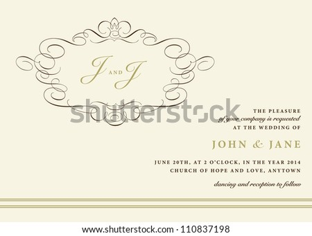 Vector Ornamental Invitation Frame. Easy to edit. Perfect for invitations or announcements. - stock vector