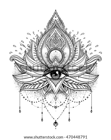 Vector Ornamental Lotus Flower All Seeing Eye Patterned Indian Paisley Hand Drawn