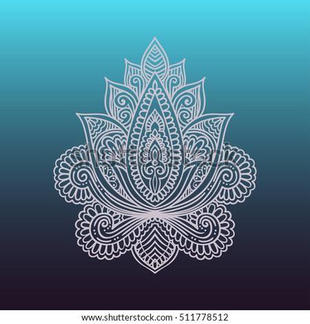 Vector Ornamental Lotus Flower Ethnic Stock Photo 511778470