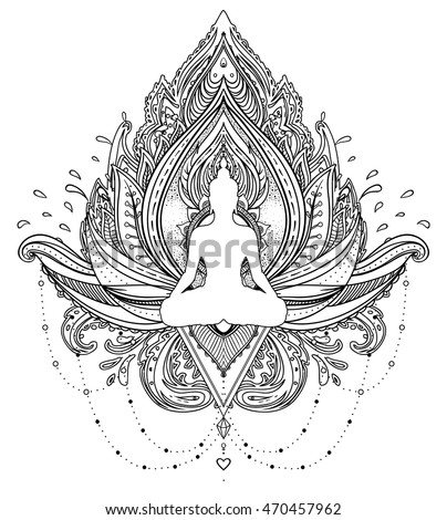 Vector ornamental lotus flower with silhouette of buddha ethnic art vector ornamental lotus flower with silhouette of buddha ethnic art indian paisley hand mightylinksfo