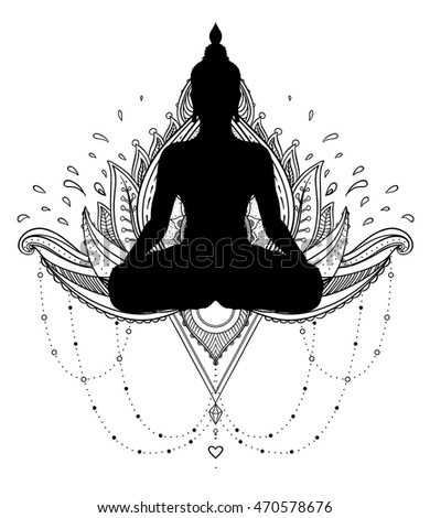 Vector Ornamental Lotus Flower With Silhouette Of Buddha Ethnic Art