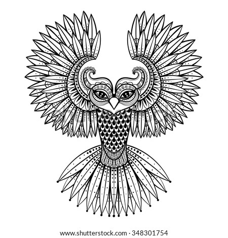 vector ornamental owl  ethnic