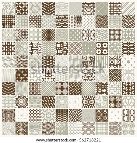 Vector ornamental seamless backdrops set, geometric patterns collection. Ornate textures made in modern simple style.