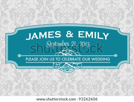 Vector Ornate Curved Frame and Pattern. Easy to edit. Perfect for invitations or announcements.