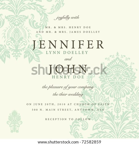 Vector ornate damask background. Easy to edit. Perfect for invitations or announcements.