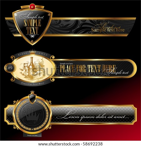 Vector ornate decorative golden frames