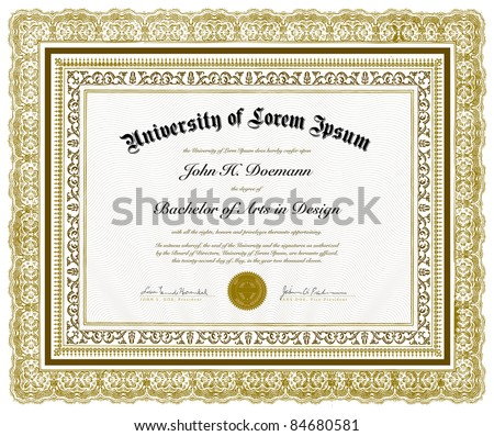 Vector Ornate Diploma and Frame. Easy to edit. Perfect for invitations or announcements.