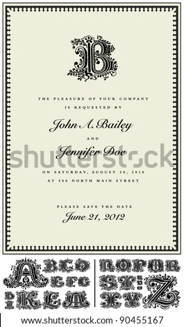 Vector Ornate Drop Cap Frame. Easy to edit. Perfect for invitations or announcements. Includes full vector alphabet
