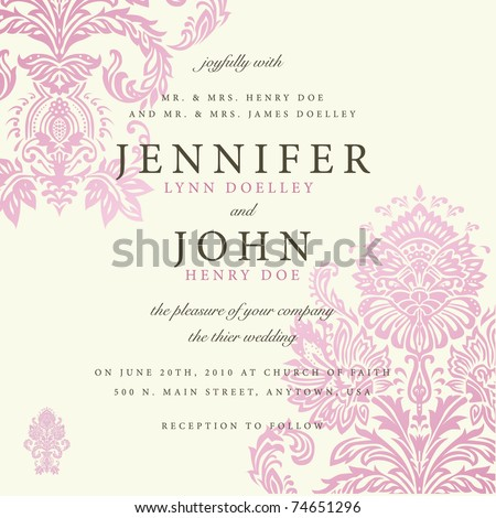 Vector ornate floral background. Easy to edit. Perfect for invitations or announcements.