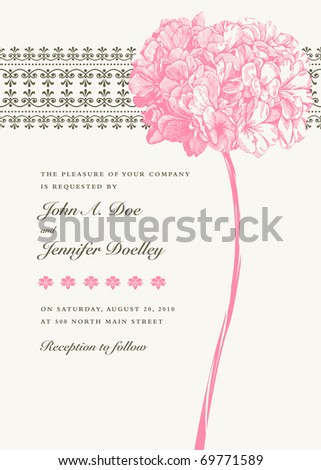 Vector ornate floral frame. Easy to edit. Perfect for invitations or announcements.