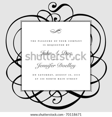 Vector ornate frame and ornaments. Easy to edit. Perfect for invitations or announcements.