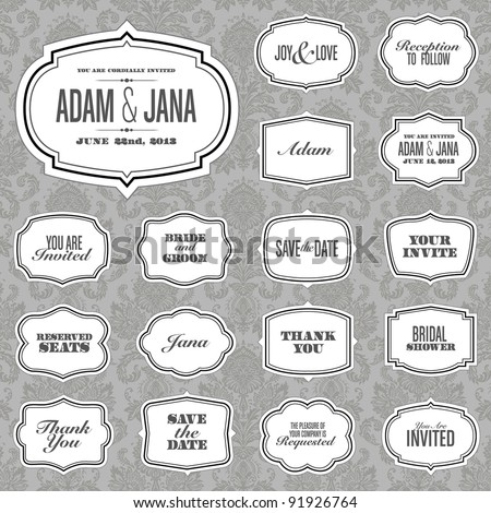 Vector Ornate Frame Set and Victorian Background. Easy to edit. Perfect for invitations or announcements.