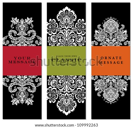 Vector Ornate Frame Set Easy to edit Perfect for labels invitations or announcements.
