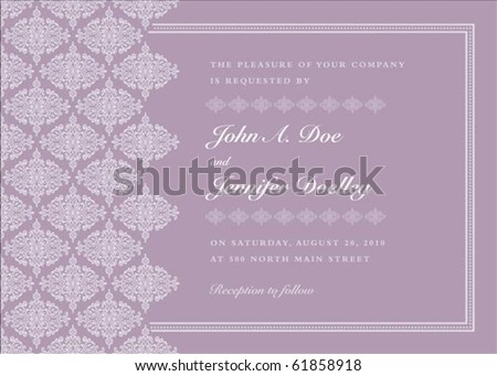 Vector ornate frame with sample text. Perfect as invitation or announcement. Pattern is included as seamless swatch. All pieces are separate. Easy to change colors.