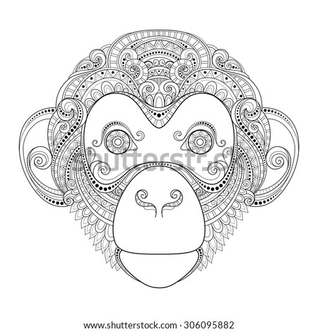 vector ornate monkey head