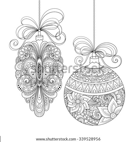 Stock Photo Vector Ornate Monochrome Christmas Decorations. Patterned Objects for Greeting Cards, Holiday Greetings. New Year and Christmas Template