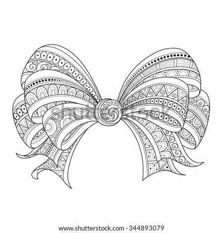 Vector Ornate Monochrome Red Bow with Pattern. Object for Greeting Cards, Isolated on White Background