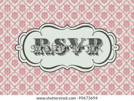 Vector Ornate RSVP Frame and Background. Easy to edit. Perfect for invitations or announcements.