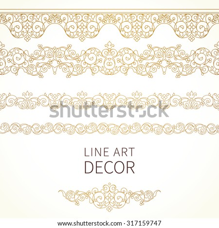 Vector ornate seamless borders in Eastern style. Floral outline element for design. Line art vintage frame for invitations, birthday and greeting cards, certificate. Oriental golden decor.