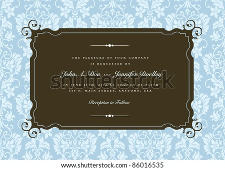 Vector Ornate Swirl Corner Frame and Pattern. Easy to edit. Perfect for invitations or announcements.