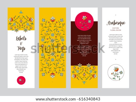 Vector ornate vertical cards in Eastern style. Colorful floral decor. Template vintage frame for card, invitation, thank you message, bookmarks. Colorful labels, tags with place for text.