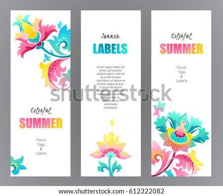 Vector ornate vertical cards with fantastic exotic flowers.Eastern floral decor, bright illustrations. Template vintage frame for card, invitation, bookmarks.Colorful labels, tags with place for text.