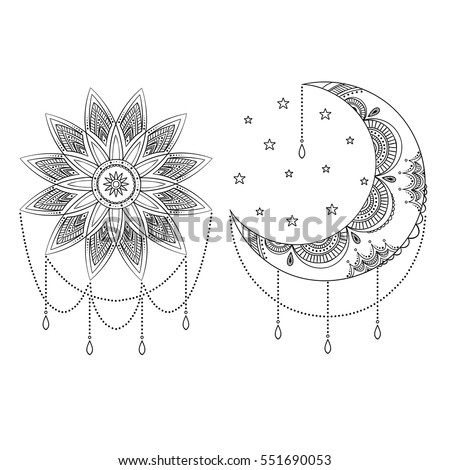 Stock Photo Vector ornate vintage moon, sun and stars. Black and white boho print with small geometric details and elements. Illustration for coloring book. Hand drawn.