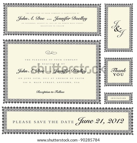 Vector Ornate Wedding Frame Set. Easy to edit. Perfect for invitations or announcements.