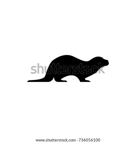 Vector otter silhouette view side for retro logos, emblems, badges, labels template vintage design element. Isolated on white background