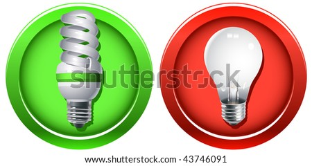 Vector outdated incandescent light bulb banned and a new fluorescent bulb as a replacement