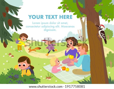 Vector. Outdoors leisure activities, active recreation family with children. Having picnic on sitting blanket,quality time together, walking, spending time, having fun, together in park on green lawn.