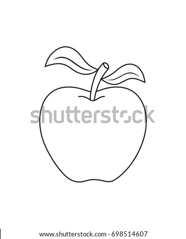 Vector Outline Apple - Apple fruit. Organic nutrition healthy food. hand draw illustration. Apple Isolated on white background.