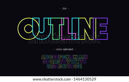 Vector outline font neon line style trendy typography. Cool vintage typeface for decoration, logotype, poster, t shirt, book, card, banner, printing on fabric, industrial. Modern alphabet. 10 eps