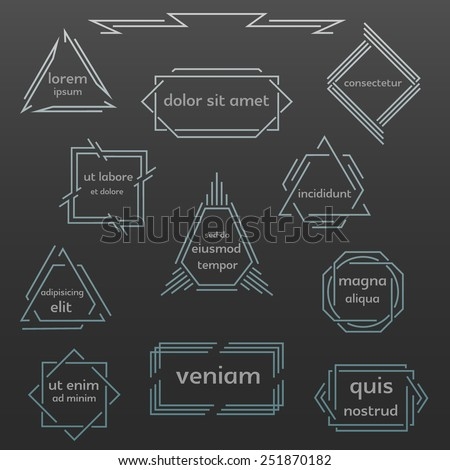 Vector outline frames, logo and badge templates.