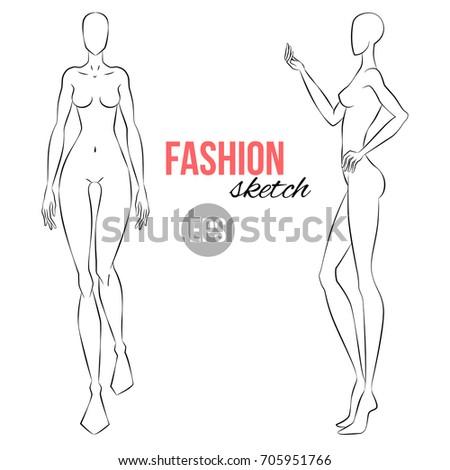 Female Fashion Croquis – Blank Fashion Sketches   123Freevectors