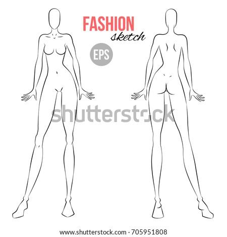 vector outline girl model